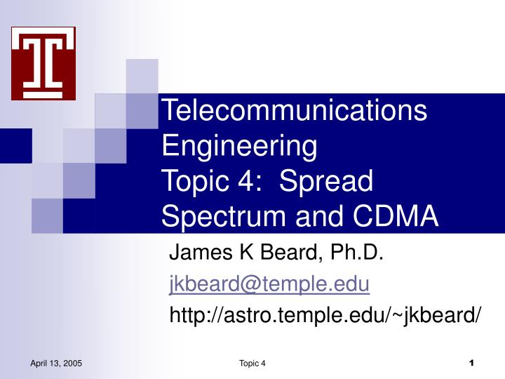 telecommunications engineering topic 4 spread spectrum and cdma n.