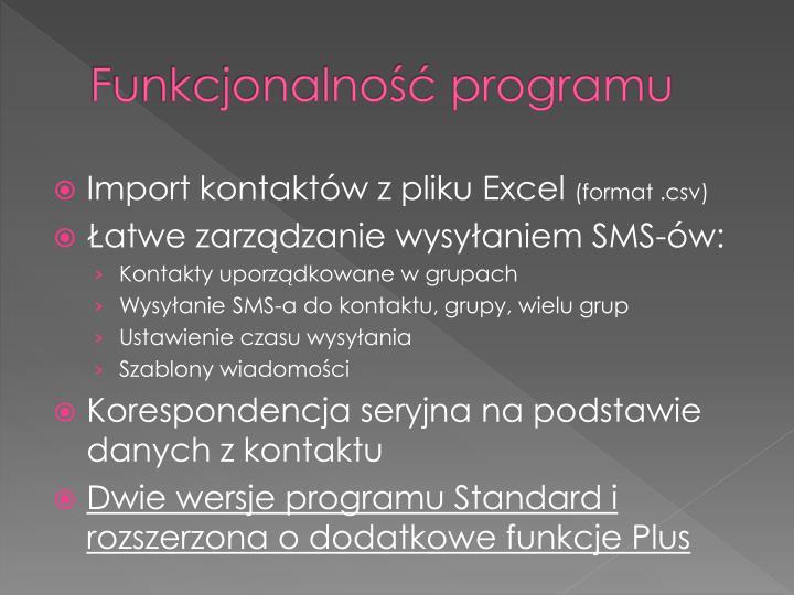 Funkcjonalność programu
