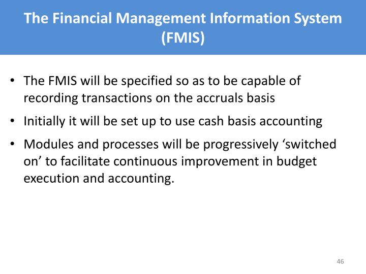 The Financial Management Information System (FMIS)