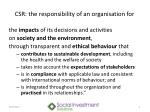 csr the responsibility of an organisation for