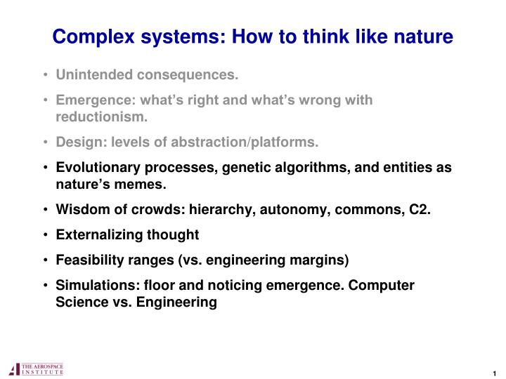 complex systems how to think like nature n.