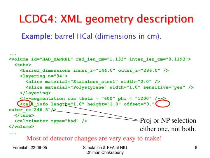 LCDG4: XML geometry description