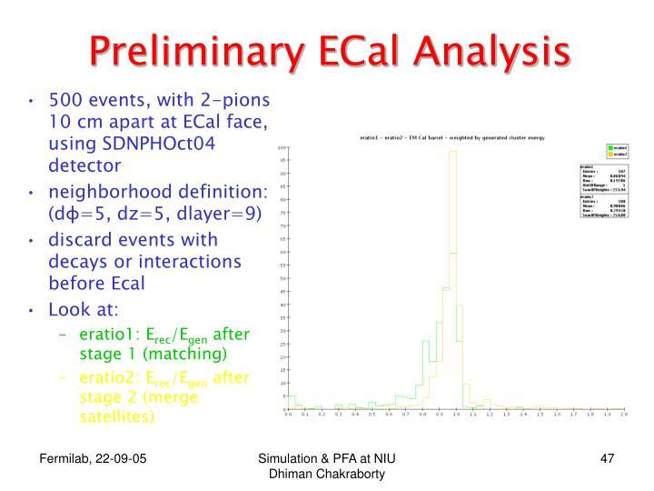 Preliminary ECal Analysis