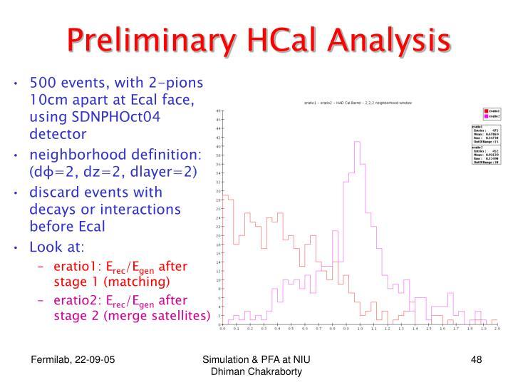 Preliminary HCal Analysis