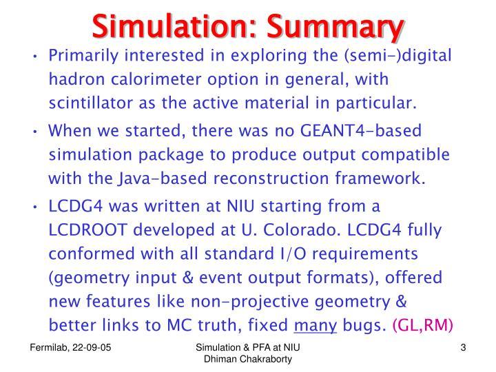 Simulation summary