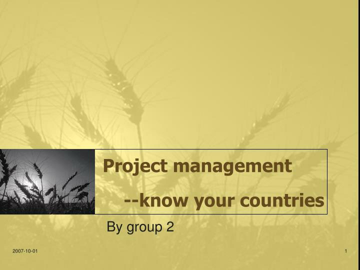 project management know your countries n.