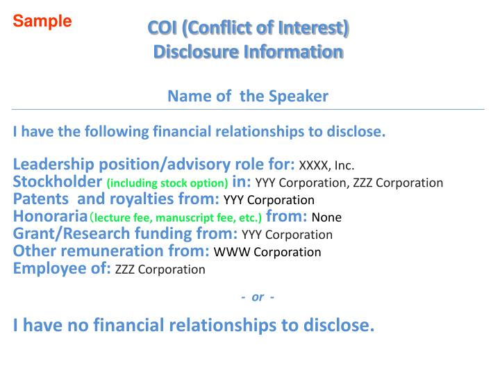 coi conflict of interest disclosure information name of the speaker n.