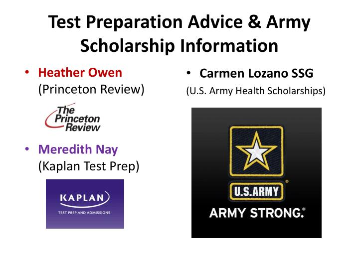 Test preparation advice army scholarship information