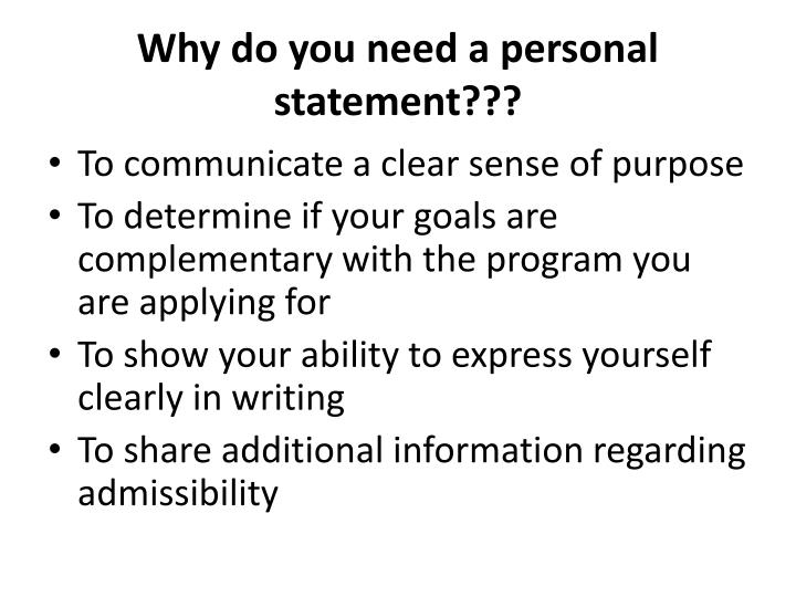Why do you need a personal statement???