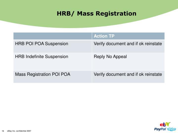 HRB/ Mass Registration