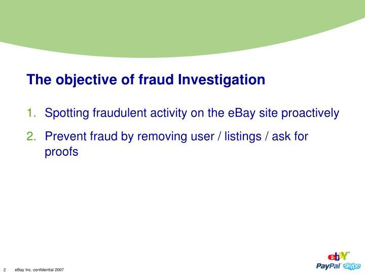 Spotting fraudulent activity on the eBay site proactively