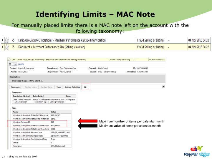 Identifying Limits – MAC Note