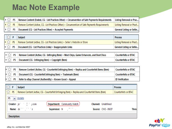 Mac Note Example