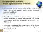 mdg employment indicators global regional estimates and trends