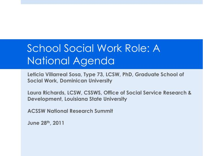 school social work role a national agenda n.
