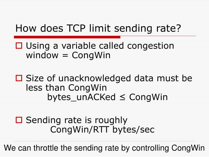 How does TCP limit sending rate?
