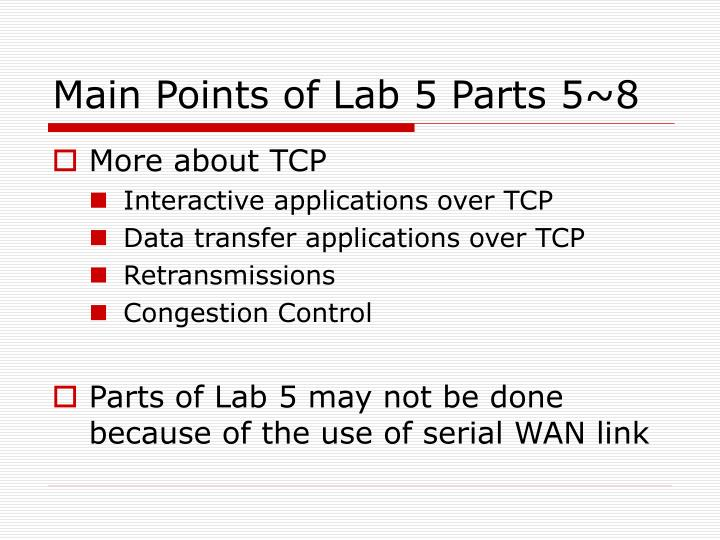 Main Points of Lab 5 Parts 5~8