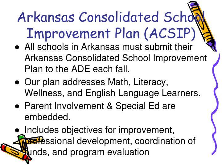 Arkansas Consolidated School Improvement Plan (ACSIP)