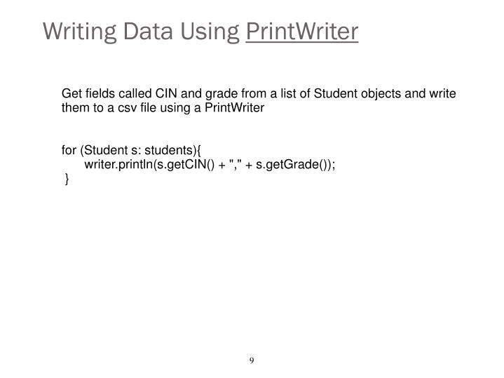 Writing Data Using