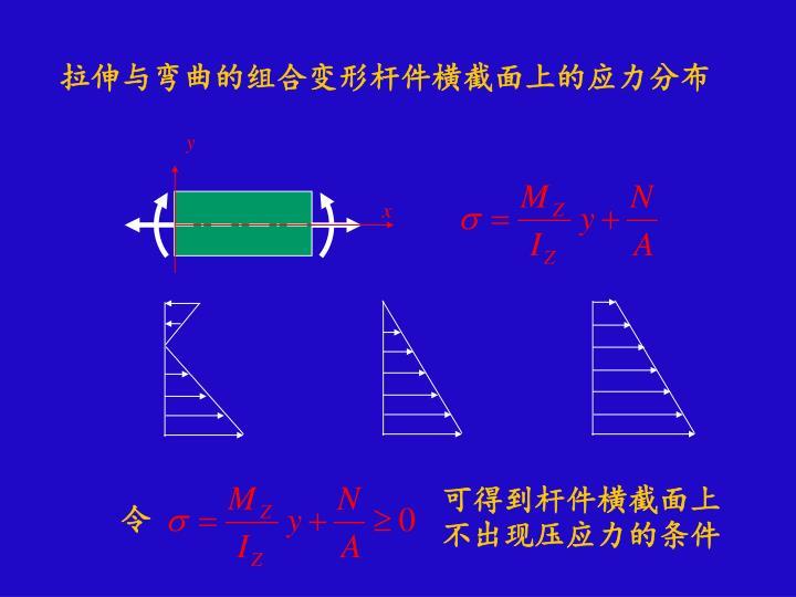拉伸与弯曲的组合变形杆件横截面上的应力分布