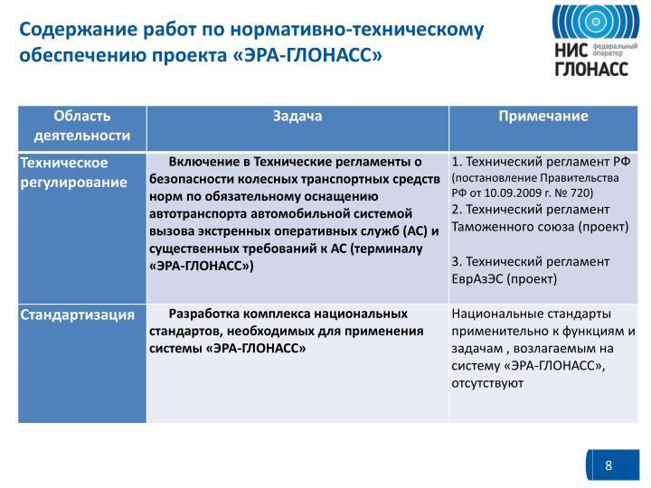 Содержание работ по нормативно-техническому обеспечению проекта «ЭРА-ГЛОНАСС»