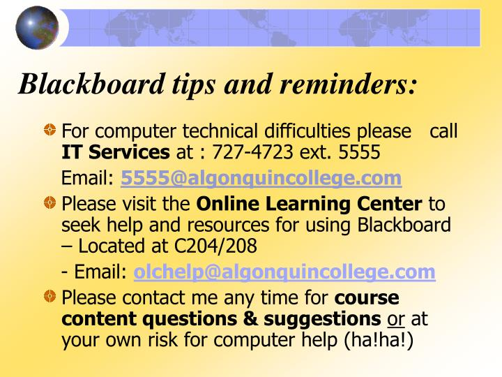 Blackboard tips and reminders:
