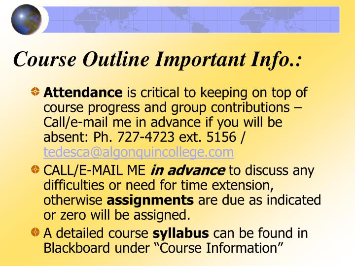 Course Outline Important Info.: