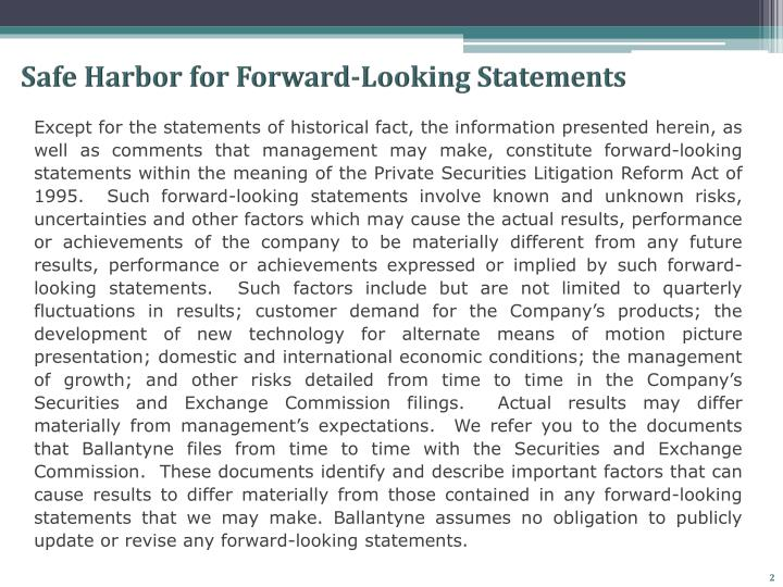 Safe harbor for forward looking statements