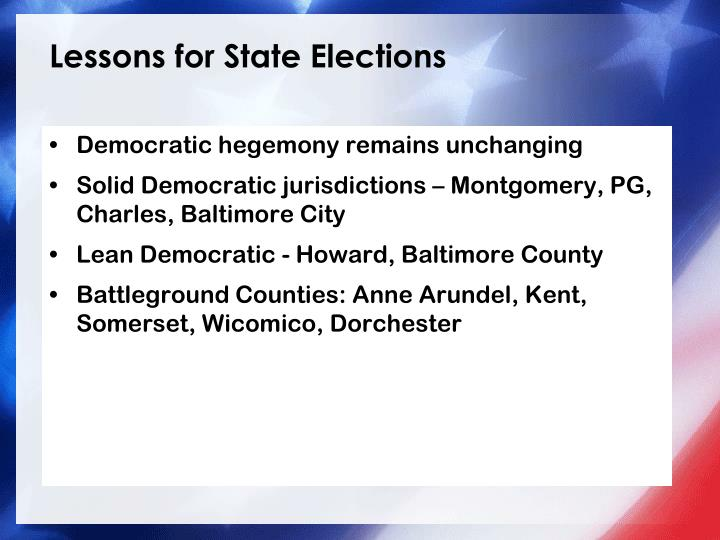 Lessons for State Elections