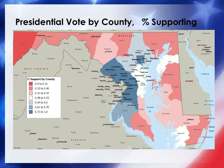 Presidential Vote by County,   % Supporting