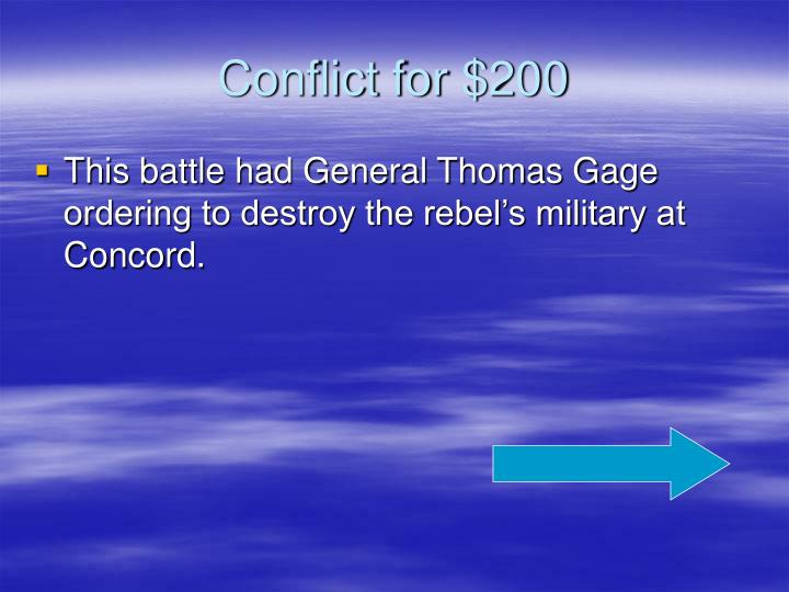 Conflict for $200