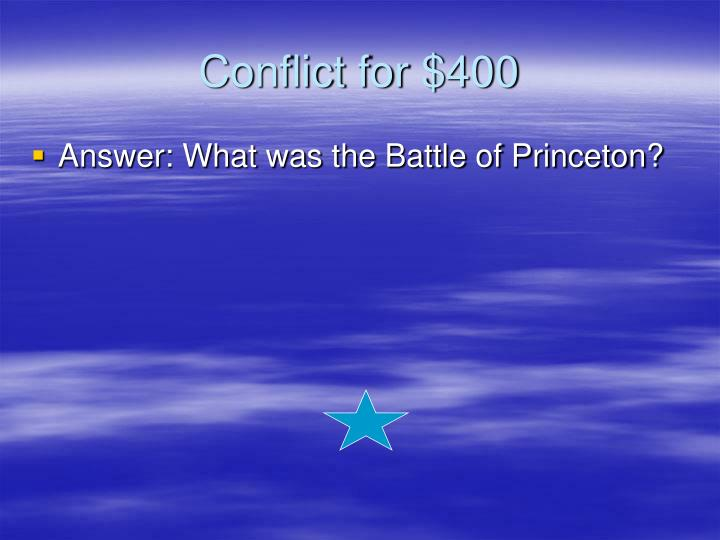 Conflict for $400