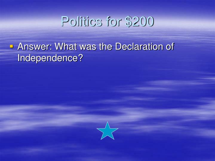 Politics for $200
