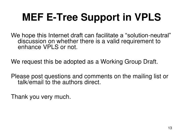 MEF E-Tree Support in VPLS