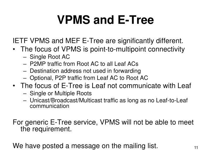 VPMS and E-Tree
