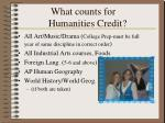 what counts for humanities credit
