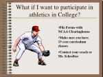 what if i want to participate in athletics in college
