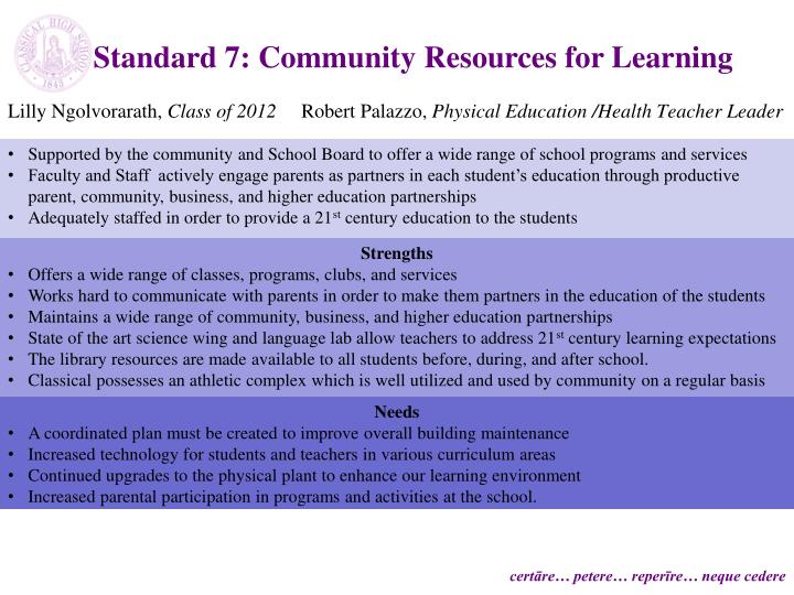 Standard 7: Community Resources for Learning