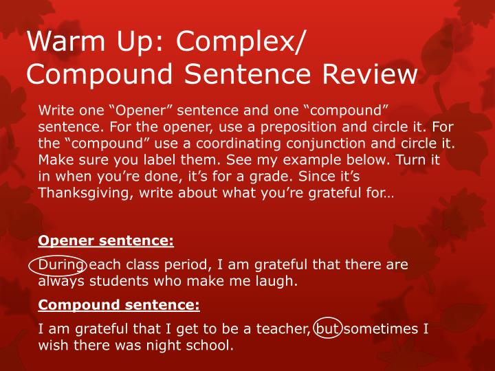 warm up complex compound sentence review n.