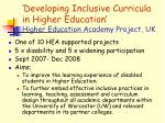 developing inclusive curricula in higher education higher education academy project uk