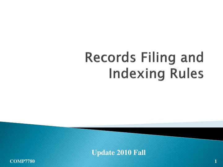 records filing and indexing rules n.