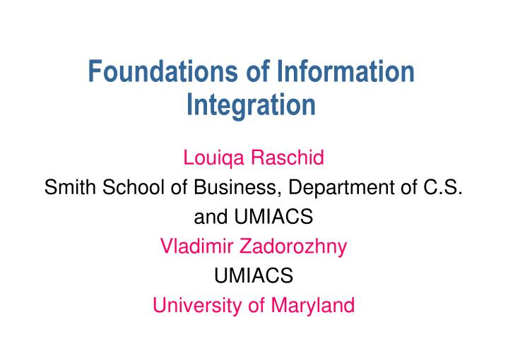 foundations of information integration n.