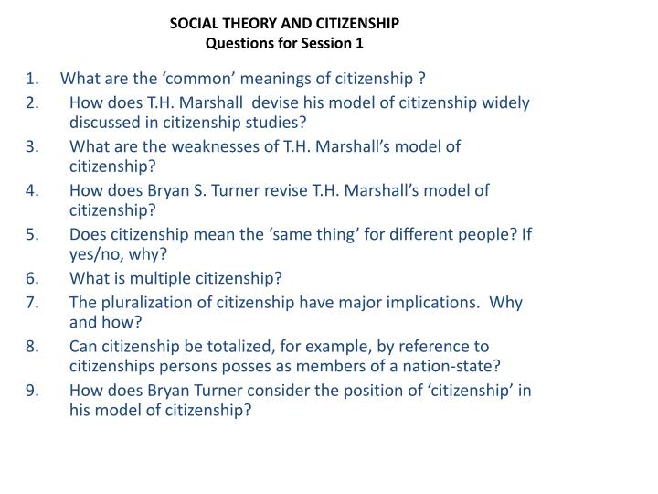 social theory and citizenship questions for session 1 n.