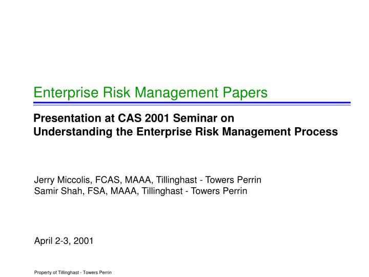 enterprise risk management papers n.