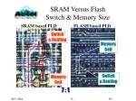 sram versus flash switch memory size