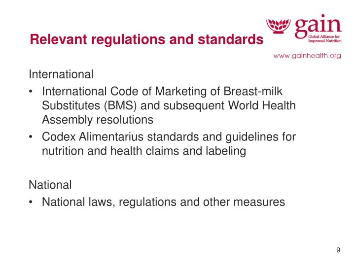 Relevant regulations and standards