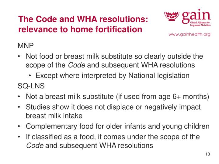 The Code and WHA resolutions:  relevance to home fortification
