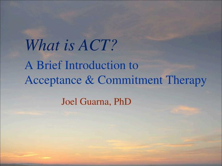 A brief introduction to acceptance commitment therapy