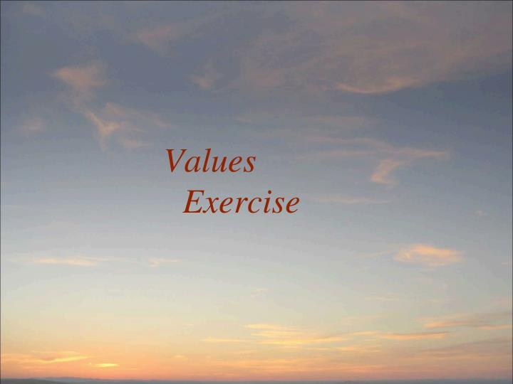 Values Exercise