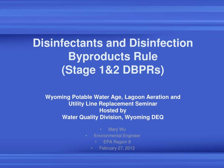 disinfectants and disinfection byproducts rule stage 1 2 dbprs n.